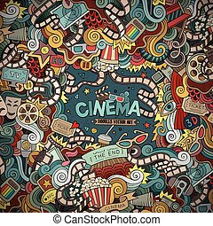 Cartoon hand-drawn Cinema Doodle frame Colorful design -...