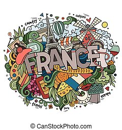 France country hand lettering and doodles elements and...