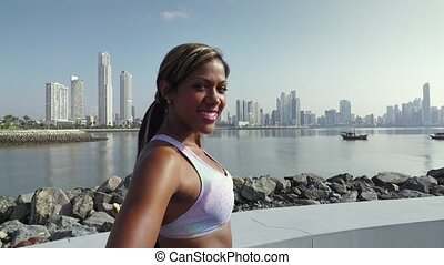 3 Portrait Of Woman Sports Training At Morning In City -...