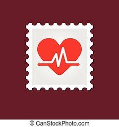 Blood pressure medical stamp - Vector sign, medical stamp...