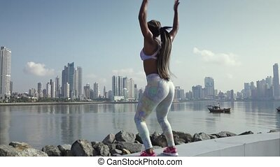 4 Woman Sports Training And Working Out Outdoor At Morning -...