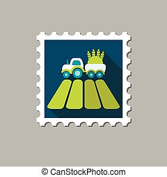 Tractor on field flat stamp with long shadow