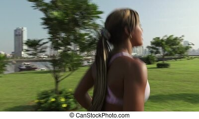 6 Woman Running And Working Out At Morning In Park