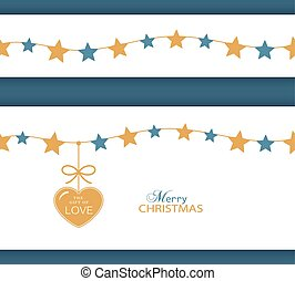 Christmas star border and heart. - Set of two borders which...