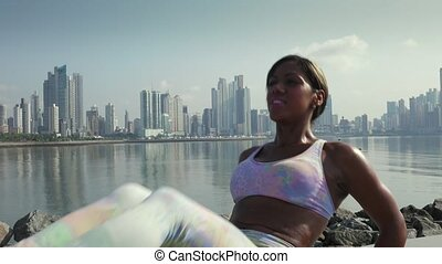 8 Woman Training ABS And Working Out In The City - Young...