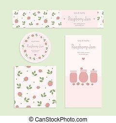 Homemade raspberry jam set Flyer, banner, brochure, label,...