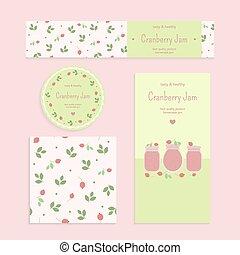 Homemade cranberry jam set Flyer, banner, brochure, label,...