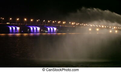 Fountain river night - Swan Fountain river Dnepr near...