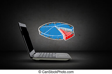 open laptop computer with pie chart doodle