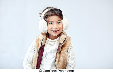 happy little girl wearing earmuffs - winter, people,...