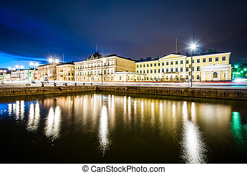 Buildings at Market Square at night, in Helsinki, Finland.