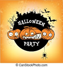 poster halloven party - Halloween vector card or background...