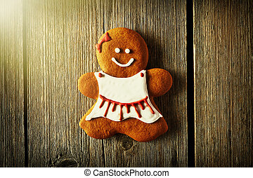 Christmas homemade gingerbread girl cookie - Christmas...