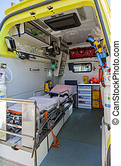 Ambulance and equipment inside