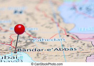 Bandar Abbas pinned Asia map - Photo of pinned Bandar Abbas...