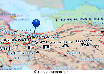 Tehran pinned on a map of Asia - Photo of pinned Tehran on a...