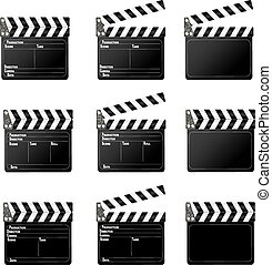 Movie clapper - Set of movie clap board on white background.