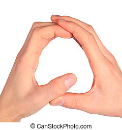 hands represents letter Q from alphabet