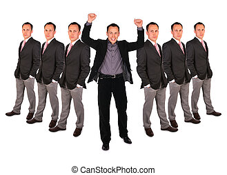 Young businessman. Yeah! - Young businessman and group of...