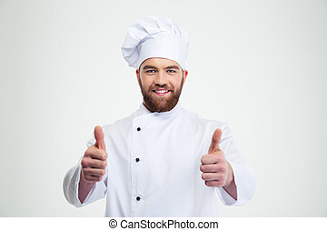 Happy male chef cook showing thumbs up - Portrait of a happy...