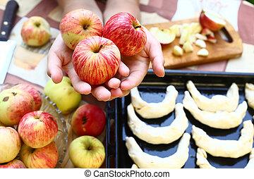 croissant, 蘋果, 背景, 手
