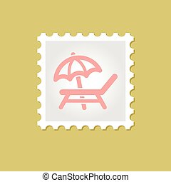 Lounger Beach Sunbed Chair vector stamp , eps 10