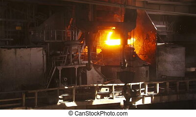 Working crane on the background of the BOF - Hot steel...