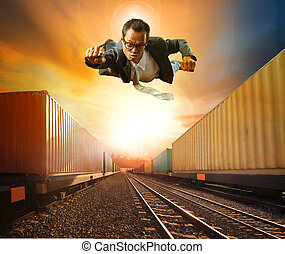 business man flying and industry container trainst running...