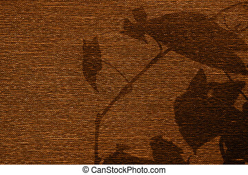 Cloth texture and silhoette of leaves - Brown cloth texture...