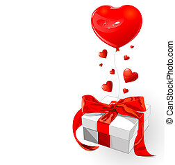 Love gift - Valentine gift with red bow and heart shape...