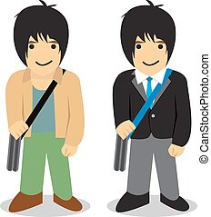 Twin man, Freelance vs office man, vector
