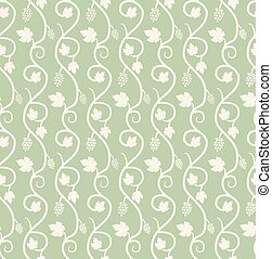 Chain of grape ivy seamless pattern