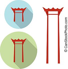 Giant Swing, torii gate icon, vector