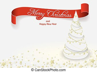 White Christmas Tree Greeting Card - Background...