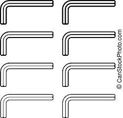 allen unbrako inbus key black line symbols - illustration...