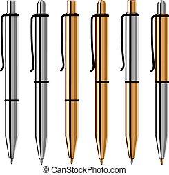 metallic ballpoint pens