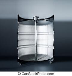 Metal Beer Keg cutaway with shallow depth of field