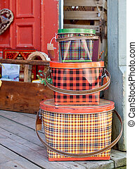 Antique Tin Baskets - Three antique tin baskets with plaid...