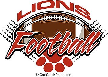 lions football team design with football and paw print