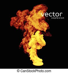 Vector illustration of fire explosion on black Use it as an...
