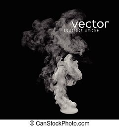 Vector illustration of grey smoke on black. Use it as an...