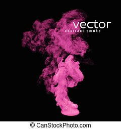 Vector illustration of pink smoke on black. Use it as an...