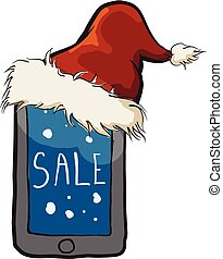 santa hat with mob - Vector sketch of santa hat with mobile...