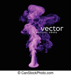 Vector illustration of violet smoke on black. Use it as an...