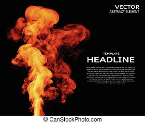 Vector illustration of fire elements on black. Use it as a...