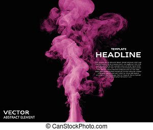 Vector illustration of smoke elements on black. - Vector...