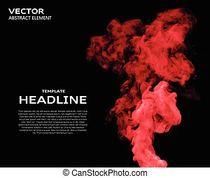 Vector illustration of smoke elements on black - Vector...