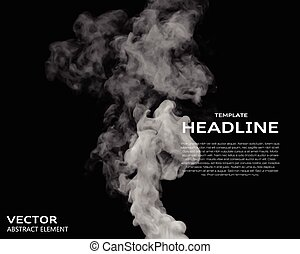 Vector illustration of smoke elements on black Use it as a...