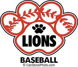 lions baseball design with stitches inside paw print
