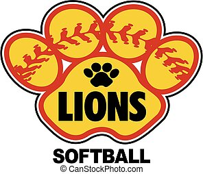 lions softball design with stitches inside paw print